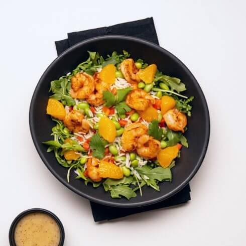 Salade de crevettes et mandarines