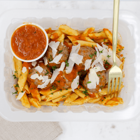 Penne sauce tomate & boulettes
